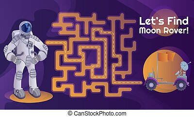 Astronaut moon rover labyrinth with cartoon character template. Cosmonaut and moonwalker find path maze with solution for educational kids game. Adventure, spaceflight printable flat vector layout