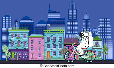 Astronaut on bicycle in city