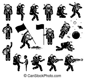 Astronaut or spaceman character set stick figure.