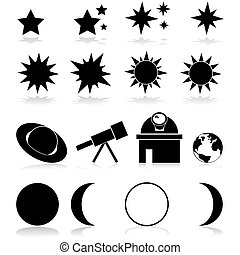 Set showing different astronomy related items and icons