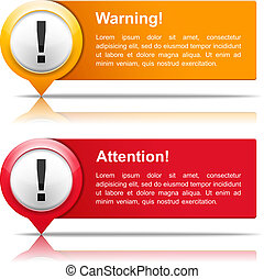 Attention and warning banners with exclamation marks, vector eps10 illustration