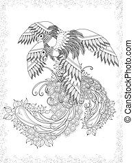attractive birds adult coloring page with floral element