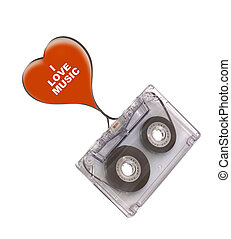 Audio cassette and heart shape with tape strip ( I love retro) text