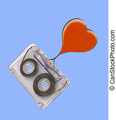 Audio cassette and heart shape with tape strip