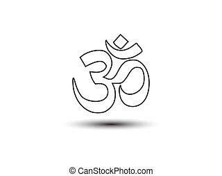 Aum om symbol. Vector illustration, flat design.
