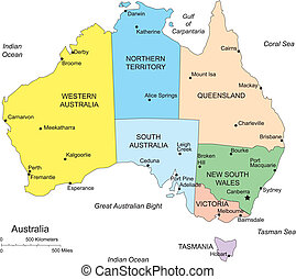 Australia, editable vector map broken down by administrative districts, in color with cities, district names and capitals, all objects editable. Great for building sales and marketing territory maps, illustrations, web graphics and graphic design.