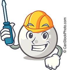 Automotive golf ball mascot cartoon