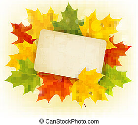 Autumn background with color leaves and card. Back to school. Vector illustration.
