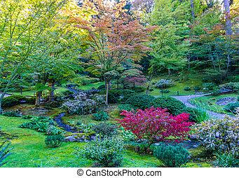 Autumn Garden And Stream 2