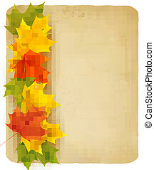 Autumn leaves with old paper. Back to school. Vector.
