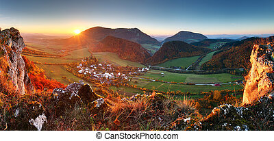Autumn mountain landscape - Village panorama