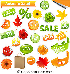 Autumn Discount Tickets, Isolated On White Background, Vector Illustration