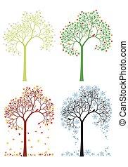autumn, winter, spring, summer tree