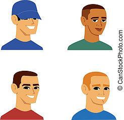 Cartoon portraits of men with and without hat, of varied ethnicities that includes caucasian blonde, hispanic brunette, and african. There are several sets like this that can be found in the portfolio of this artist.