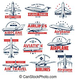 Aviation airplane, plane icons of air travel