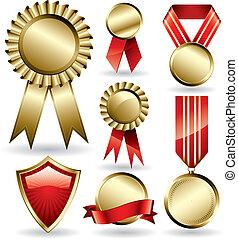 Set of shiny red and gold award ribbons