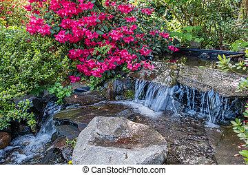 Azaleas And Stream Closeup