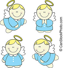 set of isolated cute little angels, vector format very easy to edit