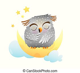 Baby animal owl sleeping at night sitting on the moon with stars in the sky. Cute clipart for newborn children.