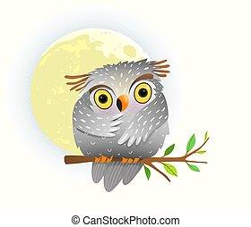 Baby animal owl watching at night sitting on the tree branch with stars in the sky and full moon. Cute clipart for children.