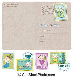 Baby Arrival Card with set of stamps - in vector