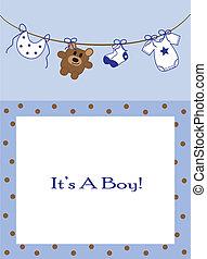 Cute blue baby boy announcement