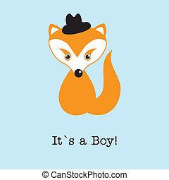 Baby boy fox arrival announcement birth card.