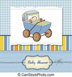 baby boy shower card with retro strolller