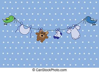 Cute blue baby boy shower invitation announcement