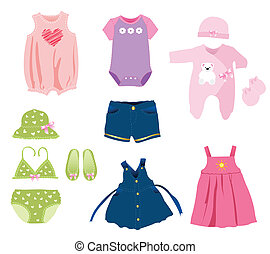 Baby girl elements, clothes