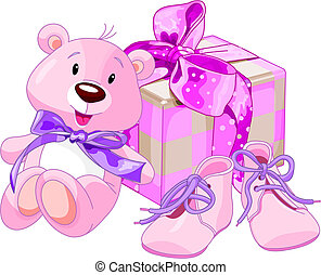 Illustration of gifts for cutest newborn baby girl