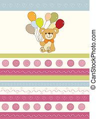 baby invitation with teddy bear