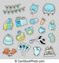 Baby Shower Boy Stickers, Badges, Patches for Birthday Party Decoration. Vector Doodle
