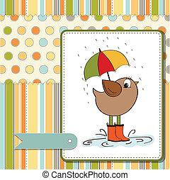 baby shower card with little bird