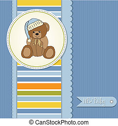 baby shower card with sleepy teddy