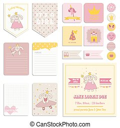 Baby Shower Girl Set - Tags, Banners, Labels, Cards - in vector