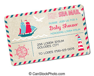 Baby Shower or Arrival Postcard - Nautical Sea Theme - in vector