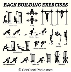 Back building exercises and muscle building stick figure pictograms.