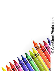 colored crayons over a white background