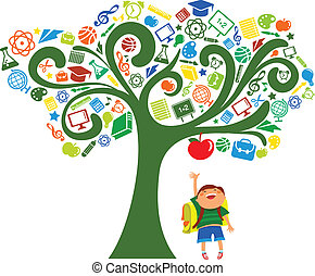 back to school - tree with education icons, vector