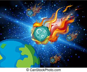 Background scene with asteroid flying in the space