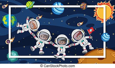 Background scene with astronauts in the space