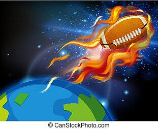 Background scene with football flying in the space