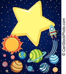 Background scene with rocket and planets in space