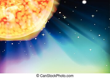 Background scene with the sun in space