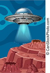Background scene with UFO flying in the space