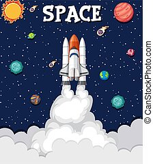 Background theme of space with rocket flying in the space