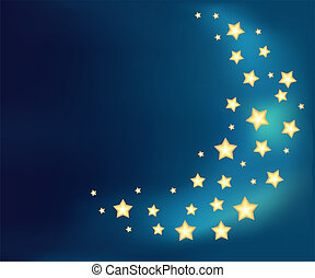 Background with a moon made of shiny cartoon stars. Template design for card.
