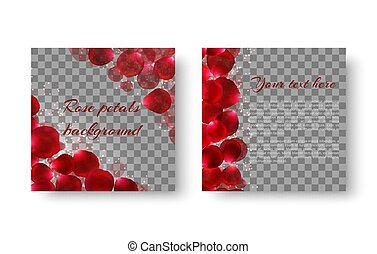 Background with flying rose petals