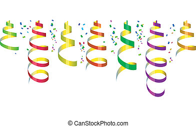 Background with party streamers and confetti, vector illustration